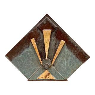 Vintage Art Deco Pottery Lacquered Desk Top Letter Holder For Sale