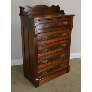 Antique Victorian Eastlake Walnut 5 Drawer High Chest Preview