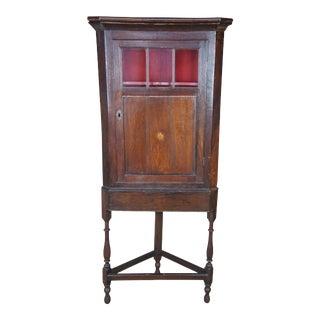 Antique Georgian English Oak Petite Corner Curio Cabinet For Sale