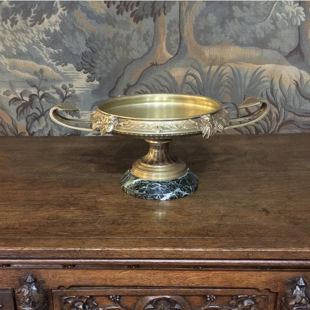 19th Century French Napoleon III Period Bronze Urn Centerpiece on Marble Base For Sale - Image 9 of 10
