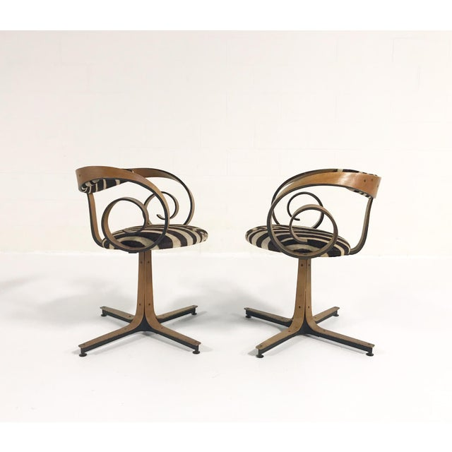 George Mulhauser for Plycraft Sultana Chairs Restored in Zebra Hide - Pair For Sale - Image 11 of 11