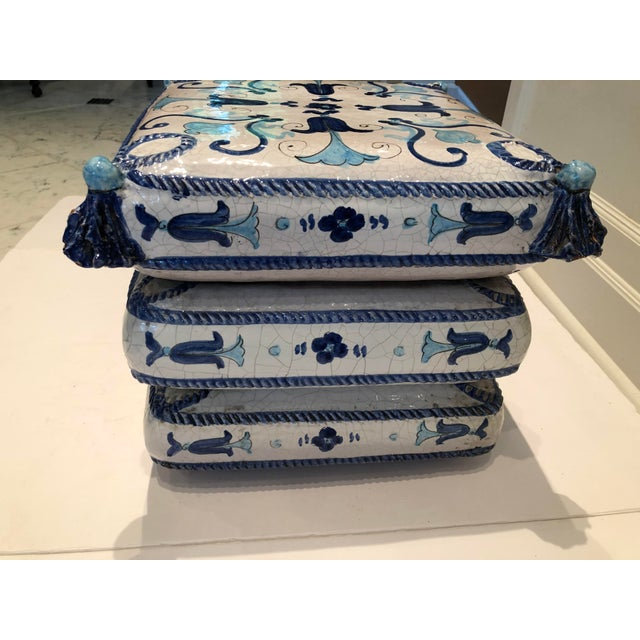 Italian Blue and White Ceramic Garden Seat/Side Table For Sale - Image 4 of 12