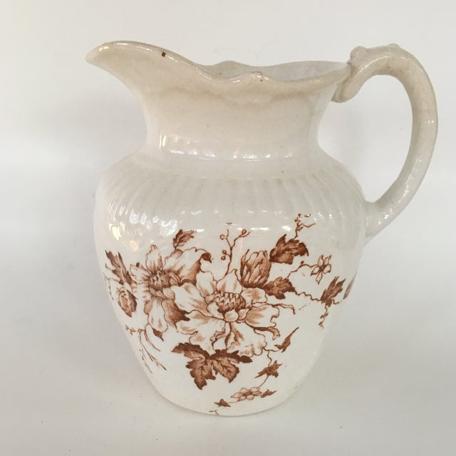 Antique English Brown Transferware Pitcher For Sale In Richmond - Image 6 of 6