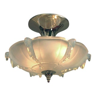 French Opalescent Glass Flush Mount Deco Chandelier Nickel Mount For Sale