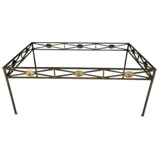 Maison Jansen Style Neoclassical Steel and Bronze Dining Table Base For Sale