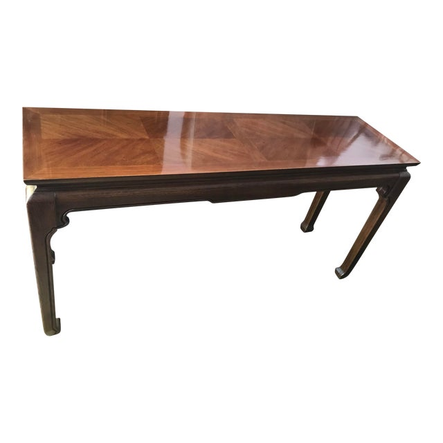 Mid-Century Inlay Wood Sofa Table For Sale