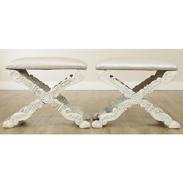 1960s Italian Baroque Style Carved White Painted X Stools, Benches - a Pair For Sale - Image 5 of 13