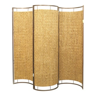 Italian Mid-Century Three Concave Panel Woven Rattan Screen For Sale