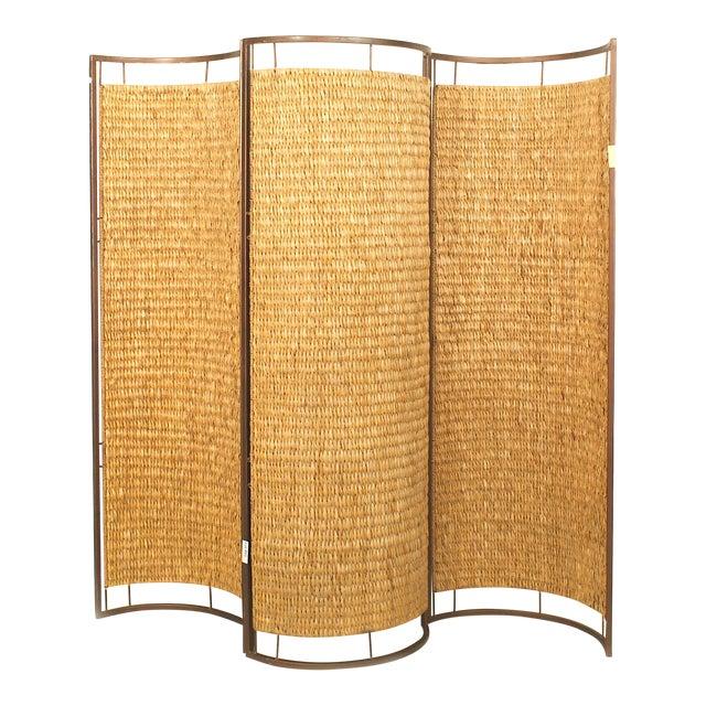 Italian Mid-Century Three Concave Panel Woven Rattan Screen For Sale