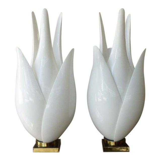 1970's Vintage Roger Rougier Tulip Lamps- a Pair P For Sale