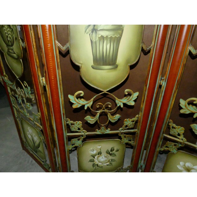 Painted Metal Room Divider/ Floor Screen or Queen Size Headboard For Sale - Image 9 of 13