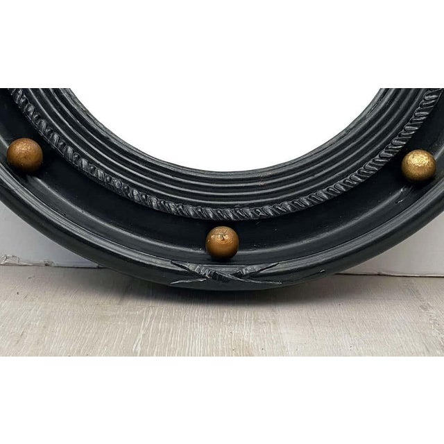 Black English Round Ebony Black and Gold Framed Convex Mirror For Sale - Image 8 of 13