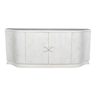 "1990s Contemporary Tessellated Off-White Cantor Stone With Trocca Shell Detailing ""X"" Buffet For Sale"