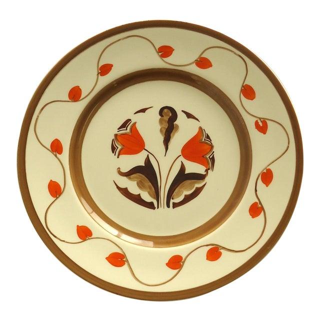 Art Deco Hand Painted Orange Tulip Plate - Image 1 of 6