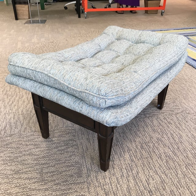 1960s Ming Style Mid-Century Blue Tweed Tufted Ottoman For Sale - Image 5 of 8