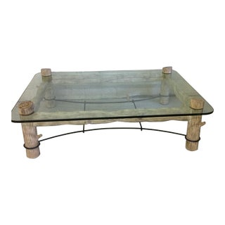 Faux Bois Iron & Glass Coffee Table
