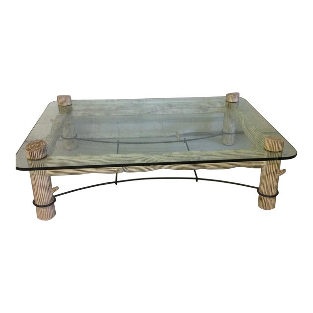 Faux Bois Iron & Glass Coffee Table For Sale