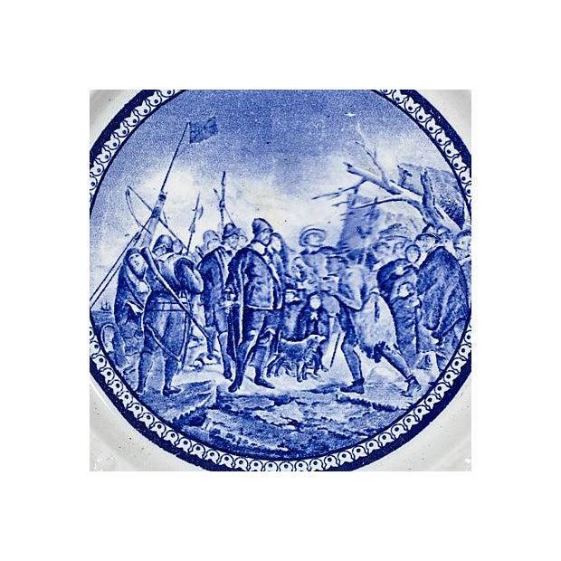 19th Century Pilgrim Landing Scene Plate - Image 3 of 5