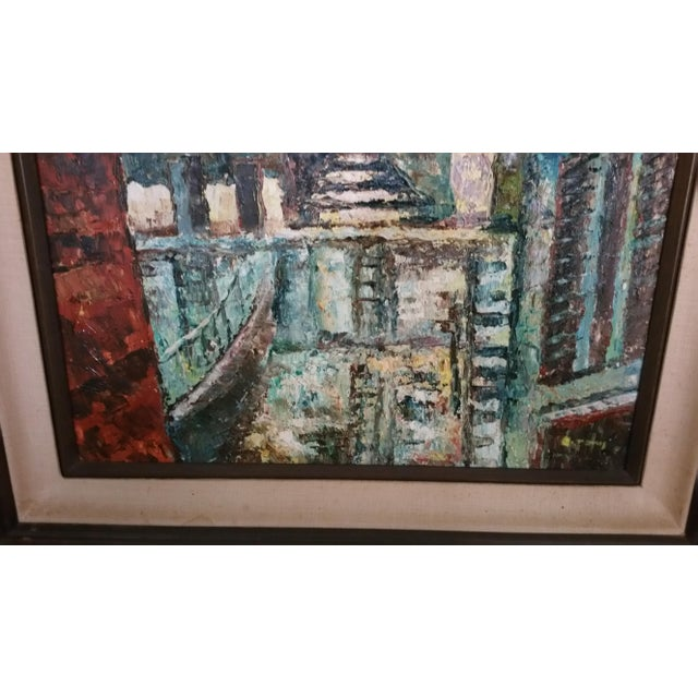 Mid-Century Impressionist Cityscape Oil Painting - Image 5 of 8