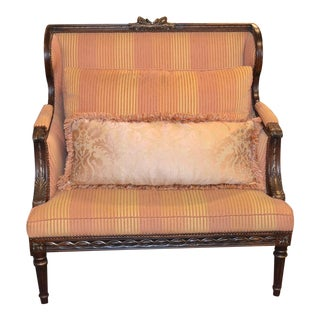 Century Furniture Stripe Settee With Carved Frame For Sale