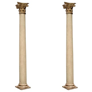 Italian Decorative Wood Columns - a Pair For Sale