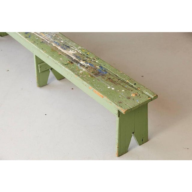 Primitive Primitive Green Pine Bench with Lots of Color Splashes from an Artist's Atelier For Sale - Image 3 of 10