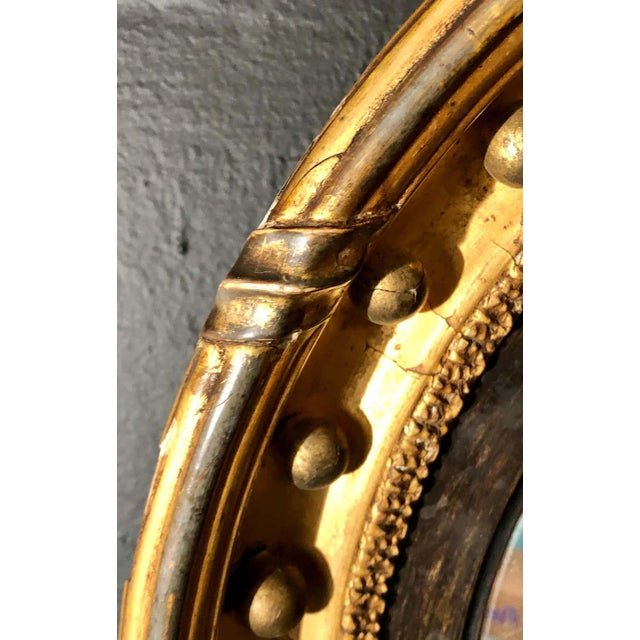 Wood 19th Century Federal Giltwood Bullseye Convex Mirror Wall Sconce For Sale - Image 7 of 11