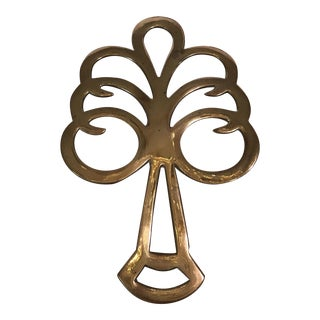 Mid-Century Modern Brass Tree Trivet For Sale