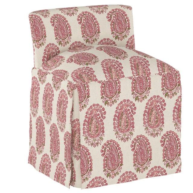 Textile Skirted Vanity Stool, Block Paisley Rosequartz Oga For Sale - Image 7 of 7
