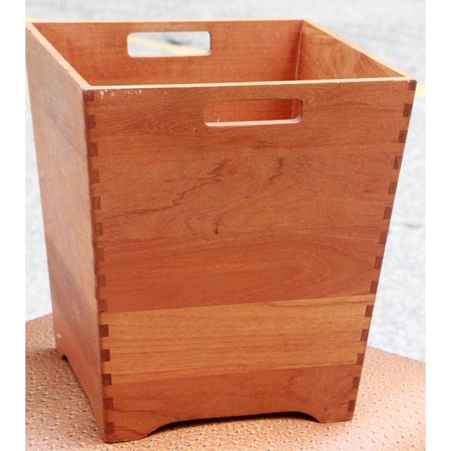 Mid Century Danish Modern Solid Teak Waste Basket / Trash Bin - Image 3 of 7
