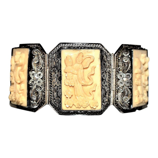 Chinese Sterling and Carved Bone Bracelet For Sale