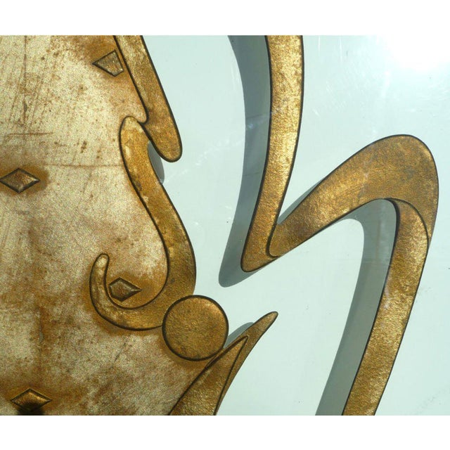 Gold Phenomenal Architectural Etched and Gilded Glass Panels For Sale - Image 8 of 11