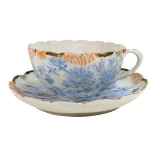 Antique Asian Thin Blue & White Flowers Birds Landscape Cup & Saucer Set For Sale