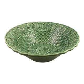 Bordallo Pinheiro Green Basketweave Serving Bowl For Sale