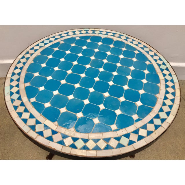 Moroccan Mosaic Outdoor Blue Tile Side Table on Low Iron Base For Sale - Image 10 of 13