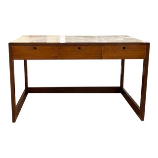 Mid Century Wood and Faux Travertine Marble Desk For Sale