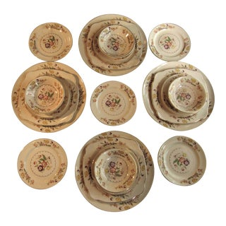 Mid 20th Century Paden Pottery Antique Dishes Buttercup Pattern Shabby Chic - Set of 17 For Sale