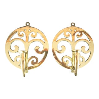 Vintage Brass Candle Wall Sconces - A Pair