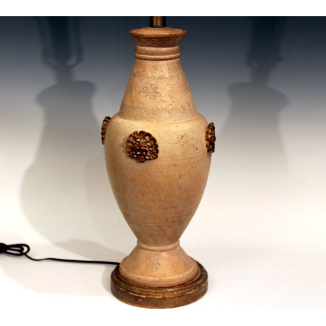 "Great Zaccagnini pottery Ming style lamp with gilt mask faces on a buff, unglazed ground, circa 1950's/60's. Approx. 33""..."