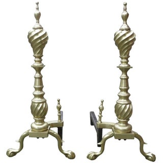 Late Victorian Chippendale Style Spiral Brass Andirons - A Pair Preview