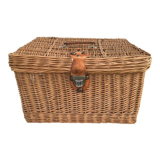 Vintage English Lidded Storage Basket with Leather Strap