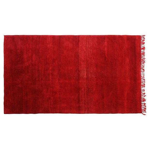 Moroccan Red Wool Rug - 10'5'' X 6' - Image 1 of 3