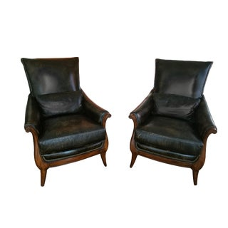 Alexander Taylor Distressed Leather Chairs- A Pair For Sale