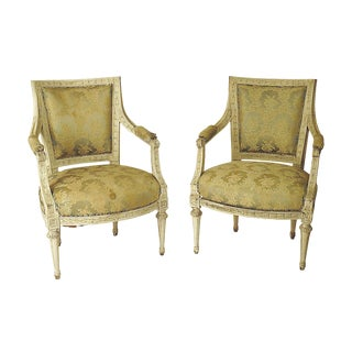 Swedish Louis XVI Painted Armchairs - a Pair