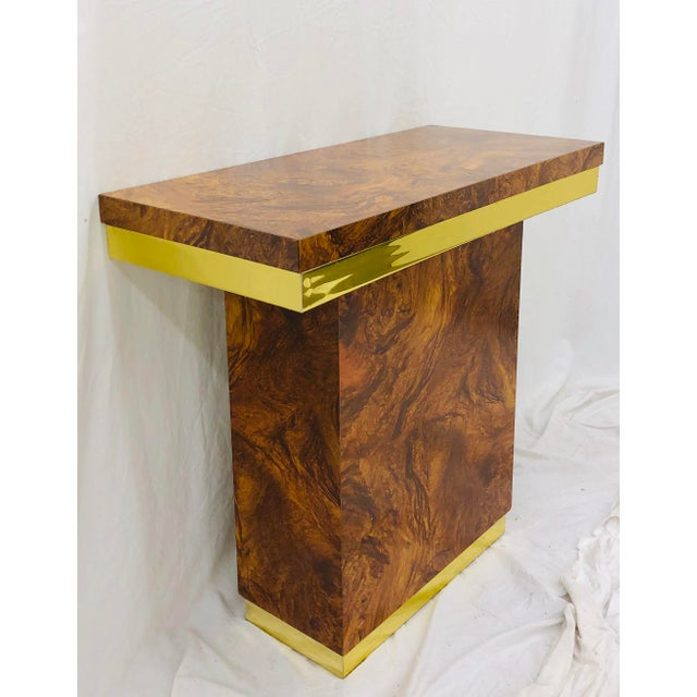 Vintage Modern Burl & Brass Table For Sale In Raleigh - Image 6 of 12