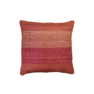 Indian Handwoven Pillow in Red Twill For Sale