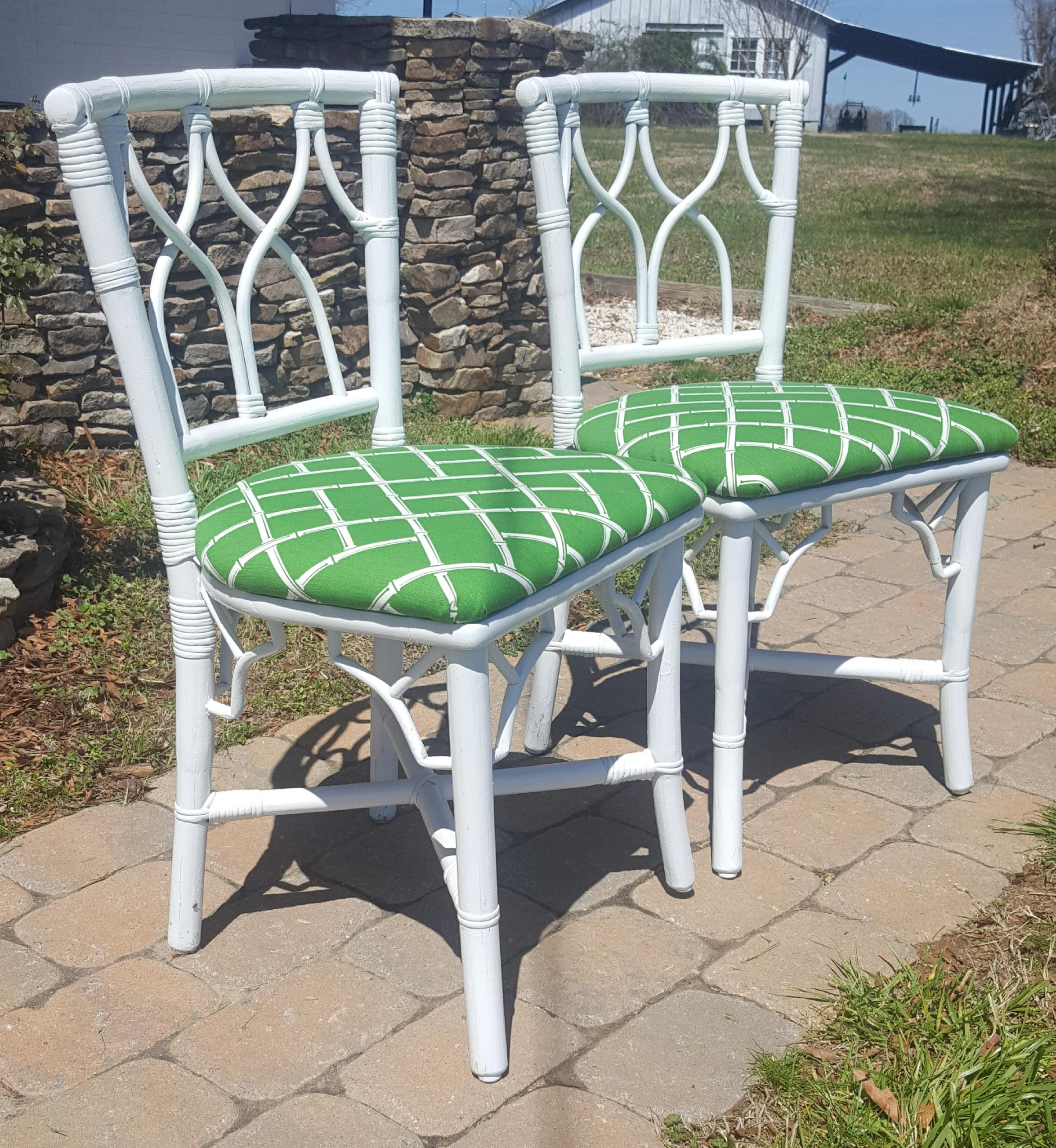 Ficks Reed Vintage Chinese Chippendale Ficks Reed Rattan Upholstered Side  Chairs   A Pair For Sale