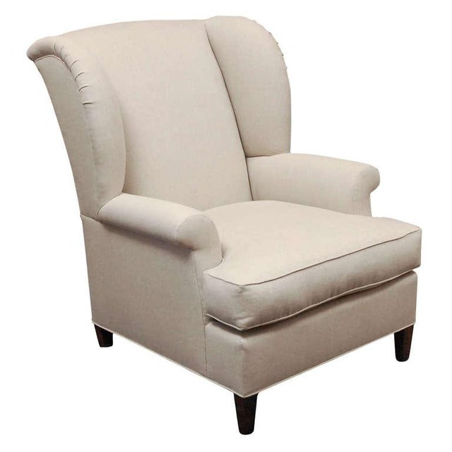 """Worrell"" by Lee Stanton English Wing Chair in Belgian Linen or Custom Fabric For Sale - Image 11 of 11"