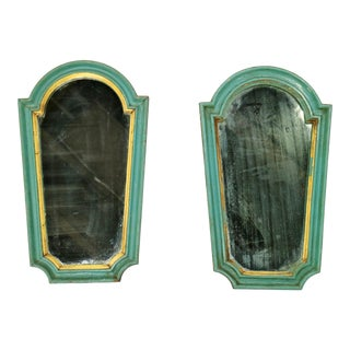Antique Aqua Framed Mirrors - A Pair