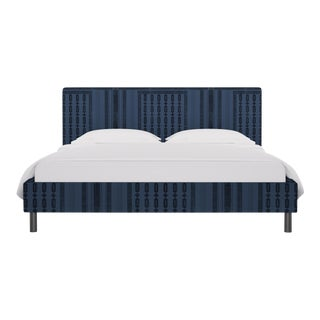 California King Tailored Platform Bed in Azul Doro For Sale